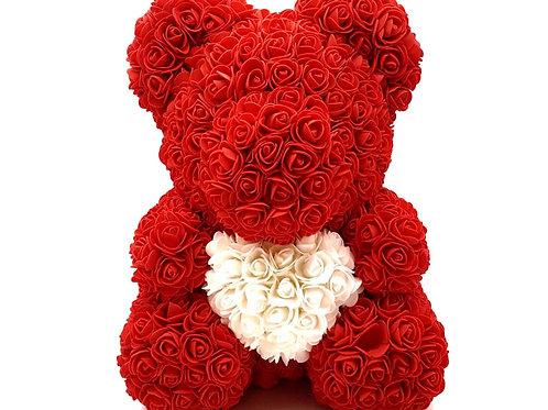 """Мишка из роз """"Красный с сердцем"""""""