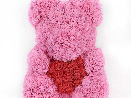 """Мишка из роз """"Светло-розовый с сердцем"""""""