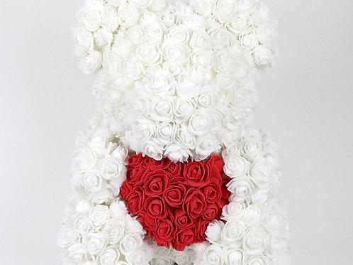"""Мишка из роз """"Белый с сердцем"""""""