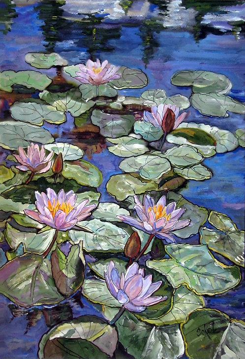 Purple Water Lilies - SMALL