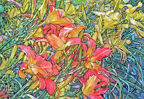 Pink & Yellow Day Lilies - LARGE