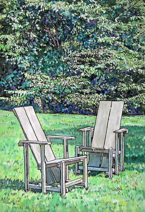 Two Chairs on Lawn - LARGE