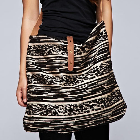Abstract Striped Crossbody Tote