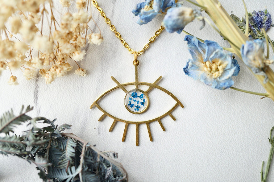 Brass Eye Pressed Flower Necklace