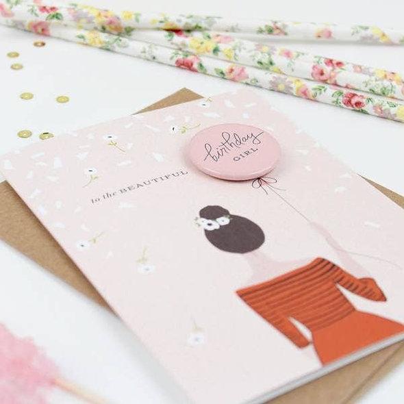 Birthday Girl Button Card - Brunette