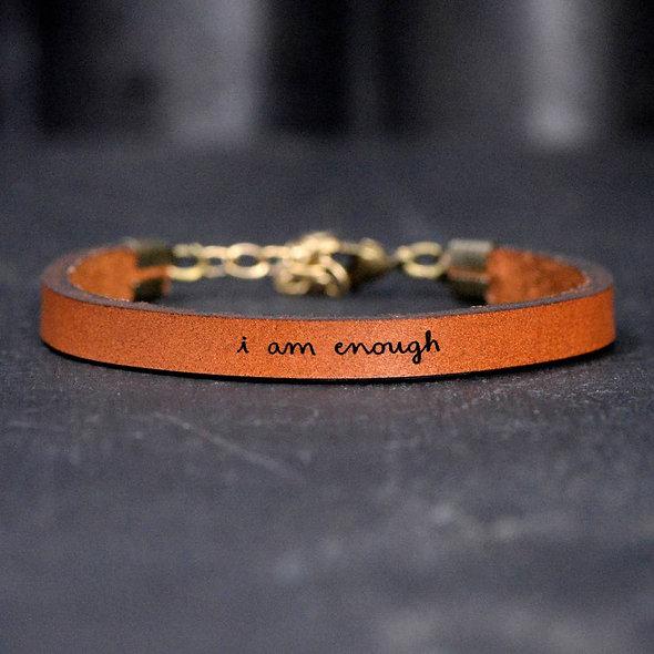 i am enough - Leather Bracelet