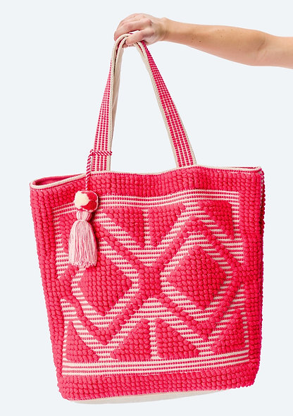 Diamond Pattern Beach Tote