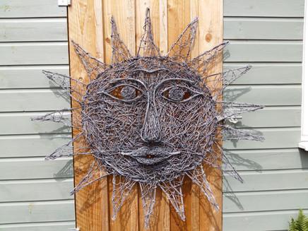 Large Wire Sun Sculpture