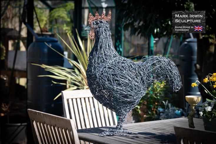 Large Cockerel. Steel and copper wire