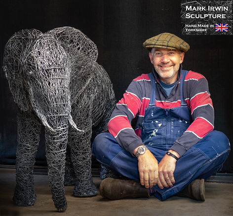 Wire elephant Sculpture and Mark Irwin