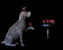 Wire Dog Sculpture for Secret Garden