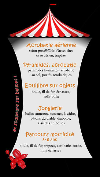 Initiation aux arts du cirque, programme
