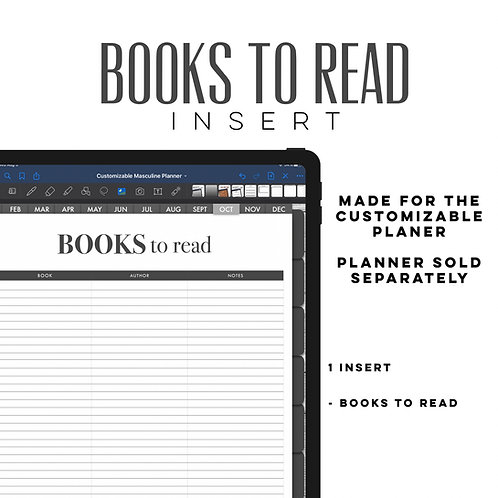 Masculine Books to Read inserts