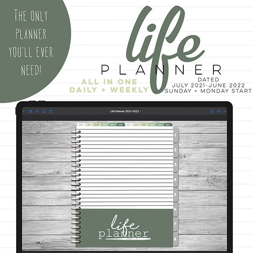 2021-2022 Dated Daily Life Planner - Striped