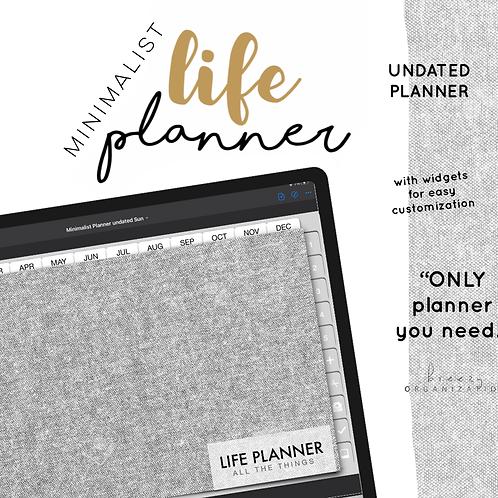Undated Minimalist Life Planner | Mon + Sun
