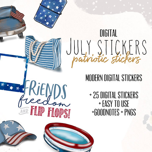 July Digital Stickers