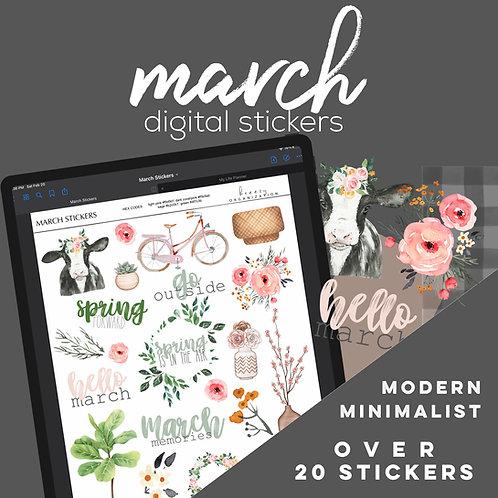 March Digital Stickers