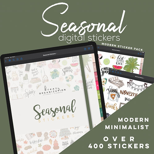 Seasonal Digital Sticker Bundle Goodnotes