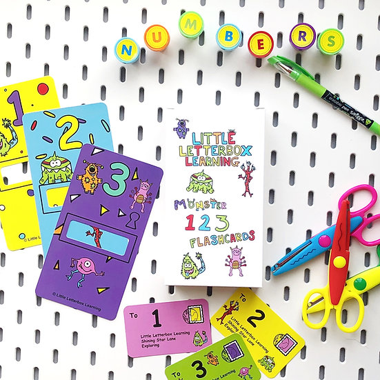 Number Letterbox card set (1-10) Monster Theme
