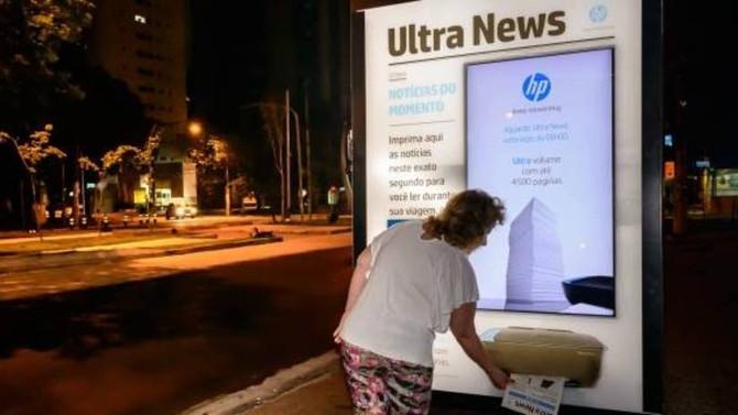 HP transforma ponto de ônibus em impressora