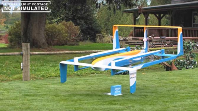 Comercial apresenta novo drone da Amazon para entregas
