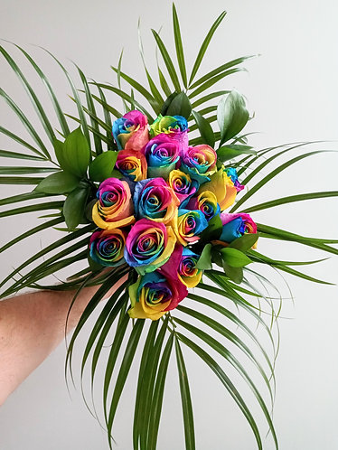 Rainbow Tie Dye rose arrangement