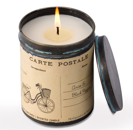 Anise & Black Pepper vintage bicycle postcard tin candle-10oz