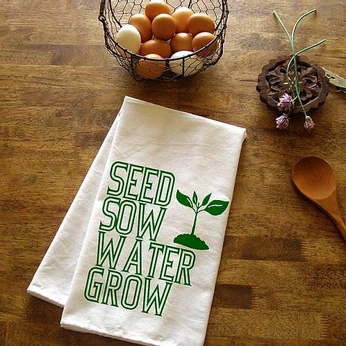 Seed Sow Water Grow Tea Towel