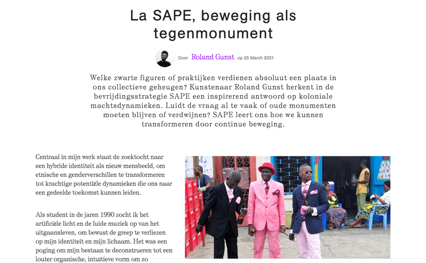 La SAPE beweging als tegenmonument