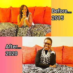 Image 28 - Before and After on red sofa.