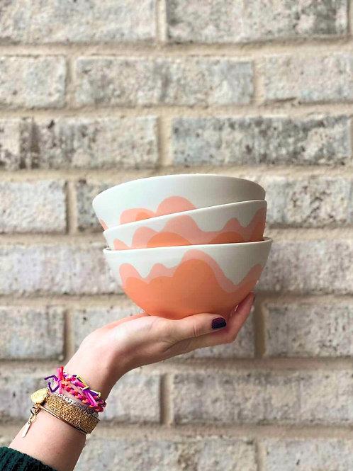 Large Bowl wave orange/pink - matte