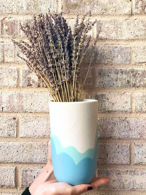 Large Vase wave blue - matte