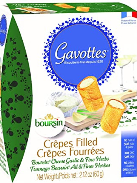 Gavottes Filled with Boursin Cheese