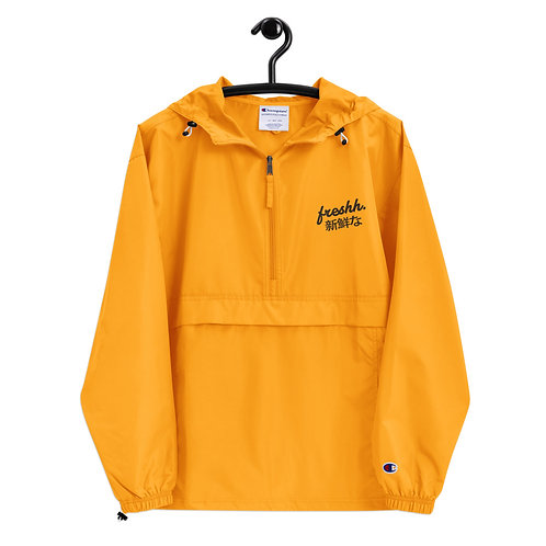 Freshh. Champion Packable Jacket (Gold + Black) Hiragana