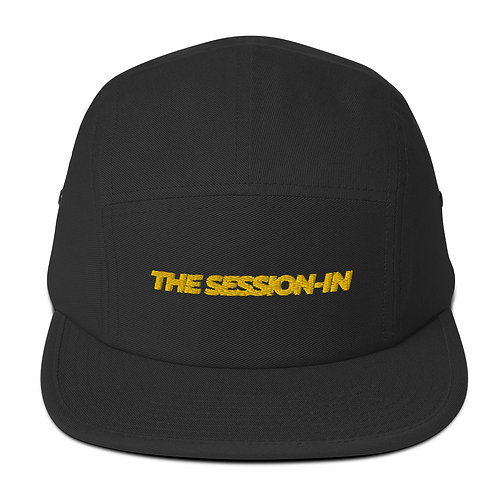 The Session-In Five Panel Cap (Black+Gold)