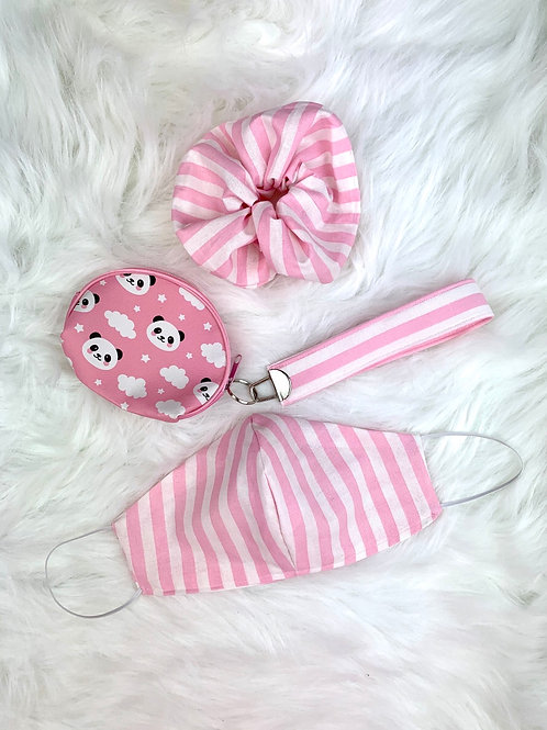 Pink Stripes Panda Mask Bundle