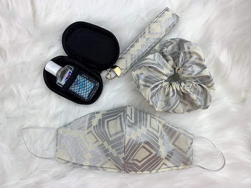 Square Patterned Cream & Metallic Silver Bundle