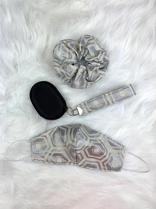 Hexagon Patterned Cream & Metalic Silver Bundle