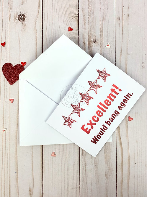5 Stars Would Bang Again Foil Valentine's Day Card