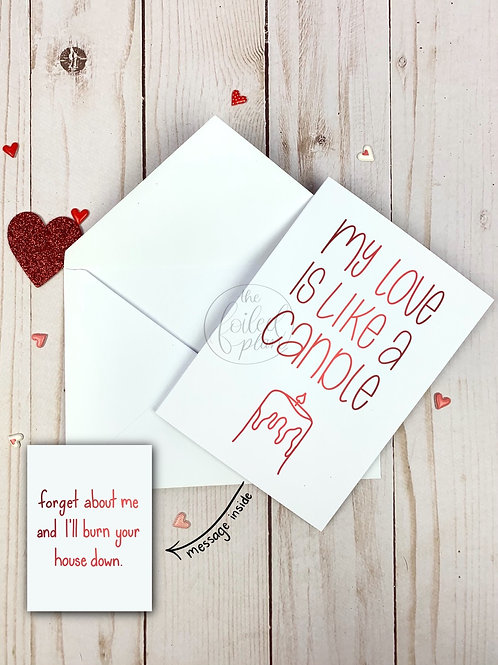 My Love is Like a Candle Foil Valentine's Day Card