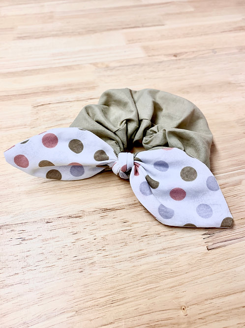 Tan + Polka Dot Bow Scrunchie