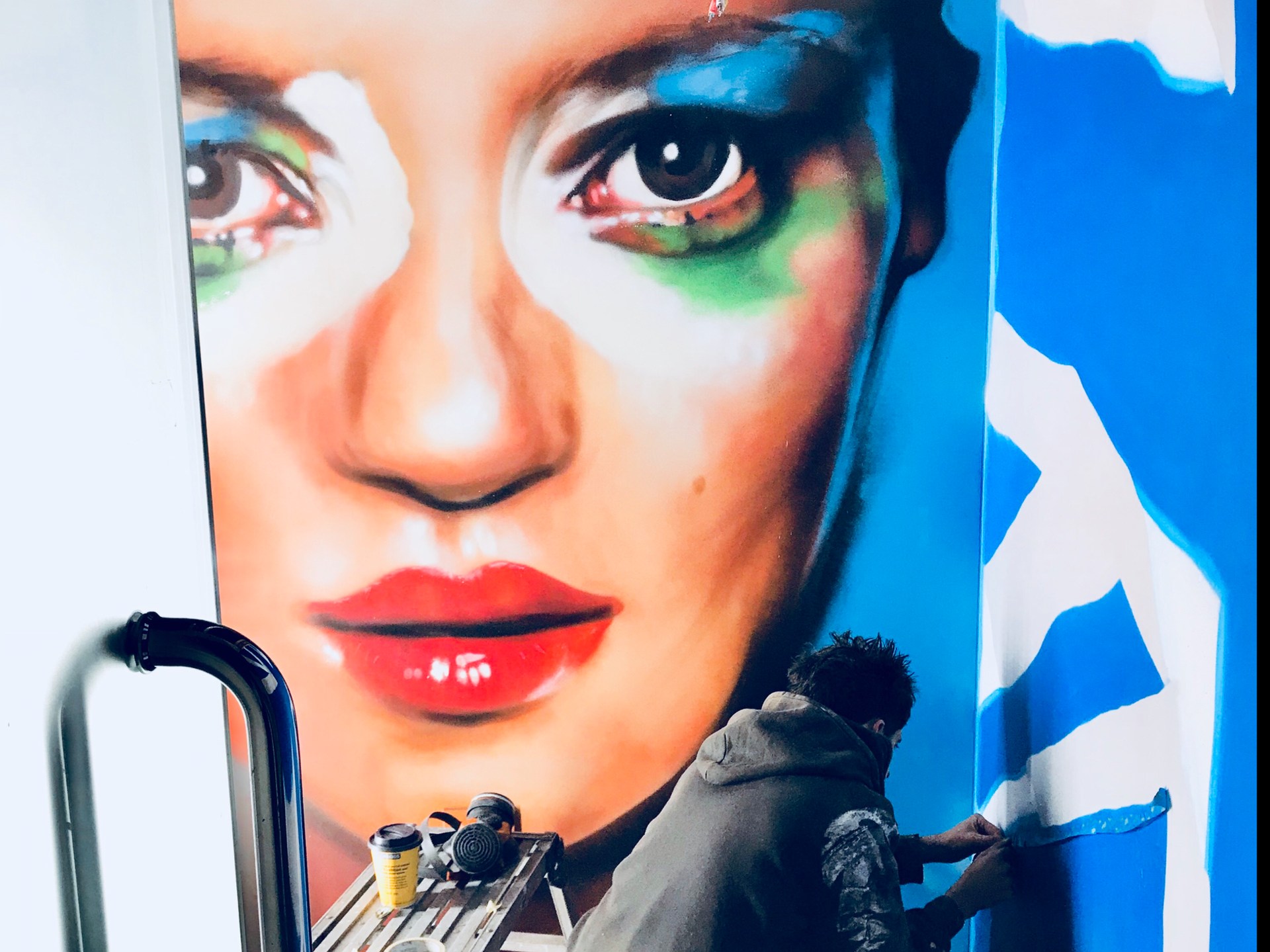 spray painted mural portrait
