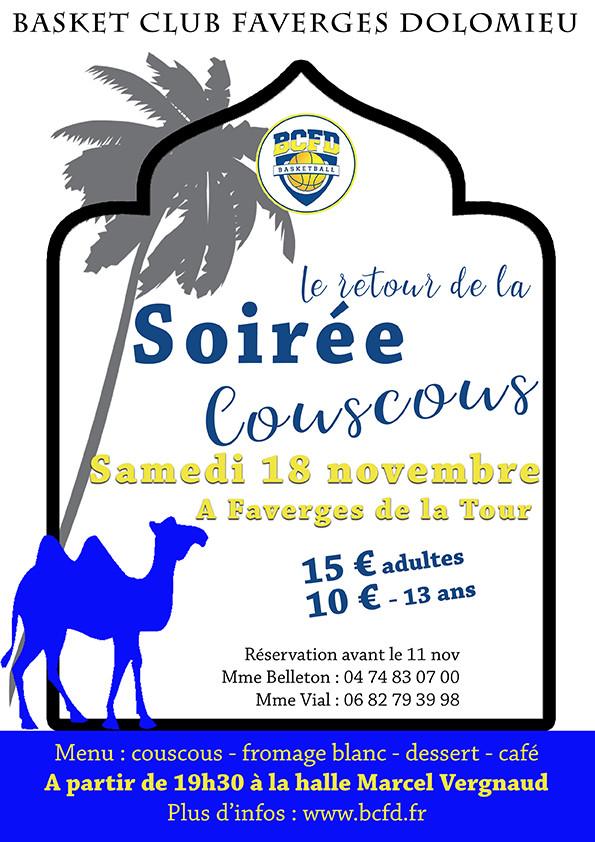 Le retour du Couscous du Bcfd, une soirée pour faire la fête avec la famille de tous les joueurs du club. 15€ pour les adultes et 10€ pour les moins de 13 ans !