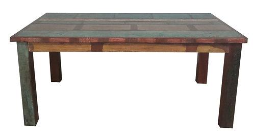 Table colorée en teck recyclé