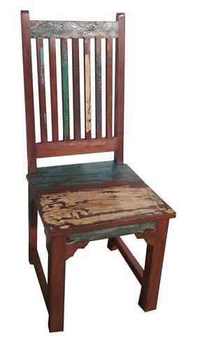 Chaise colorée en teck recyclé