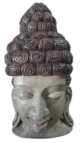 Tête Bouddha en teck