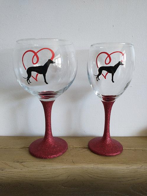 Hand Decorated Greyhound Glasses