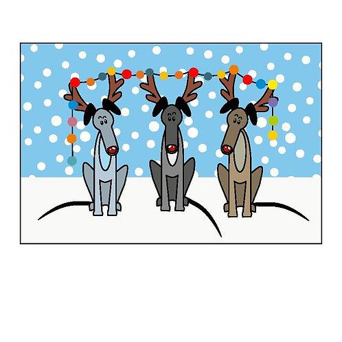 Pack of 10 Greyhound Christmas Cards (E)