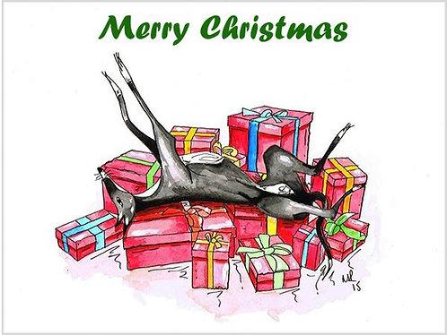 Greyhound Christmas Card - Single