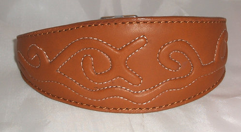 Leather Collar - Embossed Stitch
